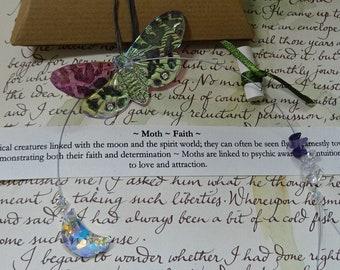 Swarovski Crystal Moon Suncatcher ~ Moth ~ Faith