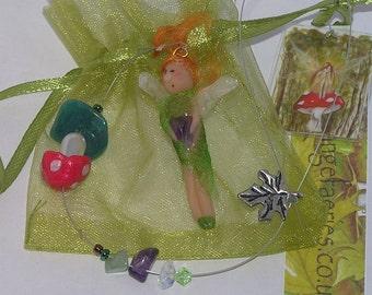 Hanging Fairy Decoration, Hanging Ornament, Window Ornament, Handmade Fairy, OOAK, Mushroom, Fairy Charm, Autumn Toadstool Window Charm