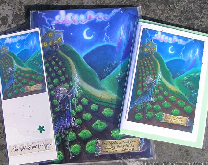 Featured listing image: The Witch & Her Cabbages Notebook, Bookmark and Handmade Card Gift Set