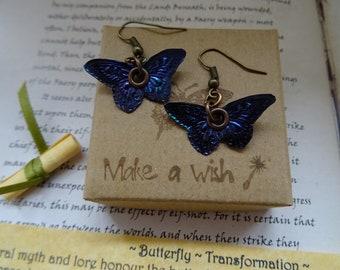 Butterfly Earrings ~ Peacock Blue