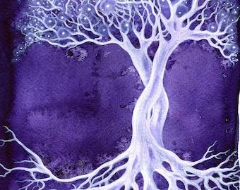 Amethyst Tree ~ Signed A4 Art Print