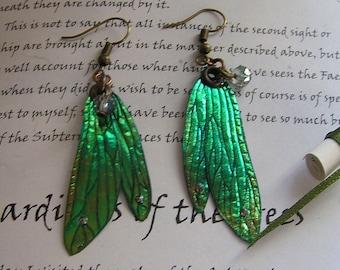 Pretty Dragonfly Wing Earrings ~ Shimmering Green