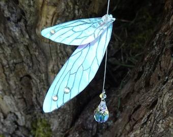 Fairy Suncatcher ~ with Swarovski Crystals and Peridot and Rose Quartz Gemstones