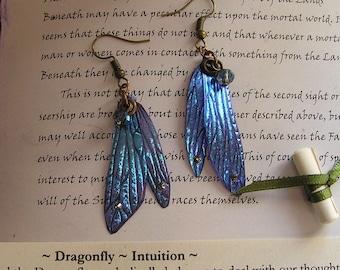 Pretty Dragonfly Wing Earrings ~ Shimmering Blue