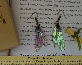 Pretty Dragonfly Wing Earrings ~ Iridescent