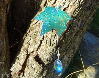 Swarovski Crystal & Gemstone Ivy leaf Suncatcher ~ Friendship