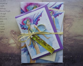 Notebook, Handmade Bookmark, Handmade Card, Gift Set, Fairy Gift Set, Faerie Art, Stationary Set, Fairy Gifts, Bookmark, Blue Faerie