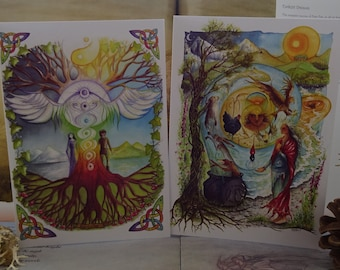 Art Card Pack, Set of 2 Cards, Art Cards, Card Pack, Pagan Cards, Spiritual Cards, Celtic Rainbow, Chakras, Celtic Art, World Tree, Goddess
