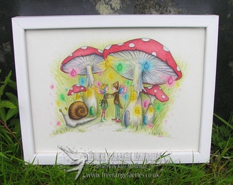 Original Painting, Watercolour, Fairy Painting, Original Art, Faerie Art, Toadstools, Mushrooms, Whimsical, Toadstool House, Faerie Dance