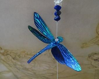 Magical Swarovski Crystal & Gemstone Dragonfly Suncatcher ~ Electric Blue
