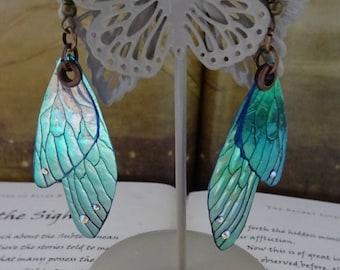 Shimmering Faerie Wing Earrings ~ Faerie Frost