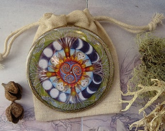 Wood Wide Web Mandala Pocket Mirror