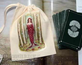Brighid's Wood Tarot Card Bag/ Crystal Pouch