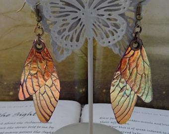 Shimmering Faerie Wing Earrings ~ Fairy Flame