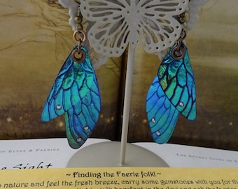 Shimmering Faerie Wing Earrings ~ Blue