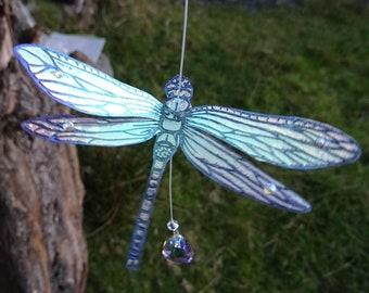 Swarovski Crystal & Gemstone Magical Dragonfly Suncatcher ~ Iridescent