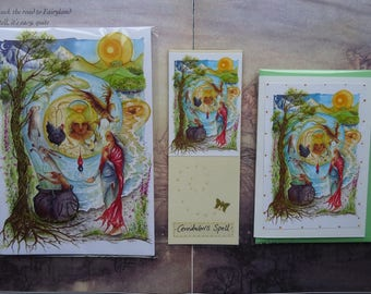 Cerridwen's Spell Notebook, Handmade Bookmark and Card Gift Set