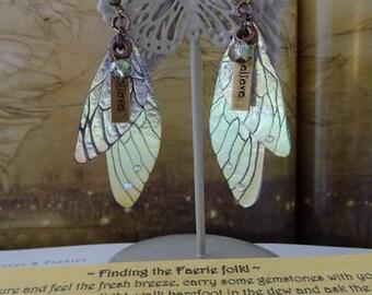 Believe Fairy Wing Earrings ~ Iridescent