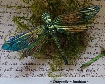 Shimmering Dragonfly Brooch ~ Mint Green