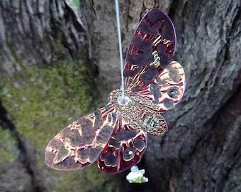 Swarovski Crystal Moon Suncatcher ~ Flame Moth ~ Faith