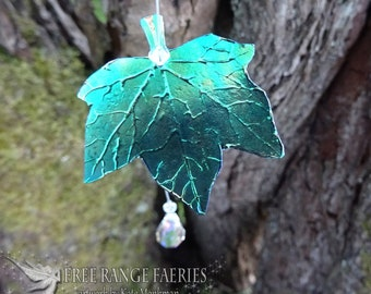 Ivy leaf Friendship Suncatcher with Genuine Swarovski Crystal