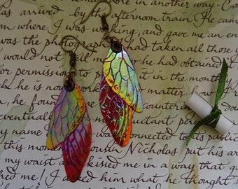 Shimmery Faery Wing Earrings ~ Raspberry