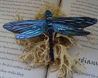 Shimmering Dragonfly Brooch ~ Cosmic Blue