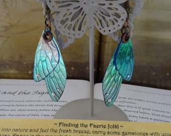 Shimmering Faerie Wing Earrings ~ Faerie Frost