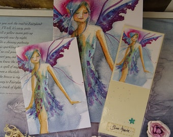 Blue Faerie Notebook, Bookmark & Card Gift Set