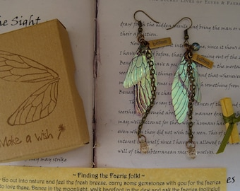 Magical Crystal Drop Fairy Wing Earrings ~ Iridescent