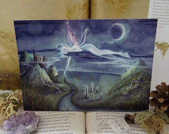 Art Card, Fairy Card, Faerie Art, Fairy, A5 Card, Moonlit Night, Castle, Sacred Sites, Moonlit Landscapes, Moon, Dreamy, Fae, Adrift