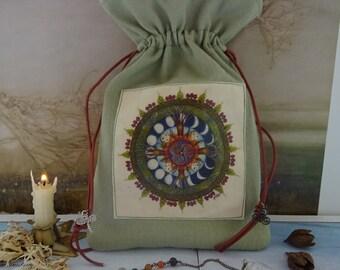 Wood Wide Web Mandala Tarot Card Bag ~ Purple Hemp/Organic Cotton Sustainable Fabric