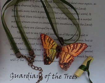 Shimmering Butterfly Necklace~ Flame