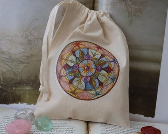 Lifeline Mandala Tarot Card Bag/ Crystal Pouch
