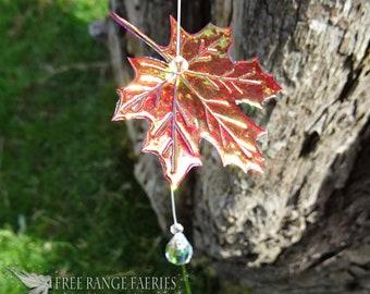 Maple Leaf Swarovski Suncatcher ~ Love