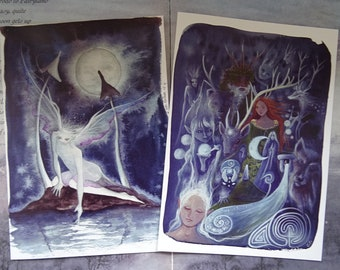 Art Cards, Pack of 2, Moonlight Magic, Greetings Cards, Spiritual Cards, Faerie Art, Fairies, Moon, Celtic, Toadstool, Labyrinth, Goddess
