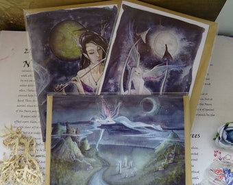 Moonlight Night ~ Pack of 3 Art Cards
