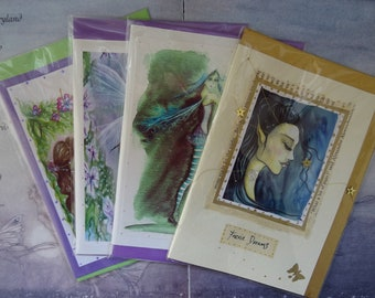 Reduced to clear, Handmade Art Cards, 4 Card Pack, Birthday Cards, Faerie Cards, Fairy greetings card, Goddess Cards, Spiritual Cards