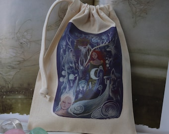 The Silver Wheel Tarot Card Bag/ Crystal Pouch