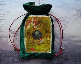 Green Goddess Velvet Tarot Bag