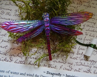 Shimmering Dragonfly Brooch ~ Raspberry