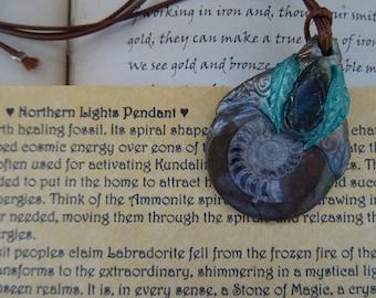 Northern Lights Pendant  Ammonite & Labradorite Handmade Pendant
