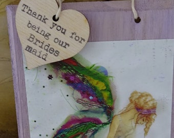 Thank you bridesmaid Hanging wall plaque