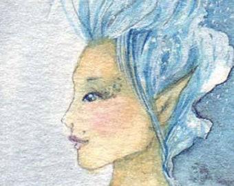 A touch of Pink ~ Original Watercolour Painting, Faerie Art, Fairy, Original Art