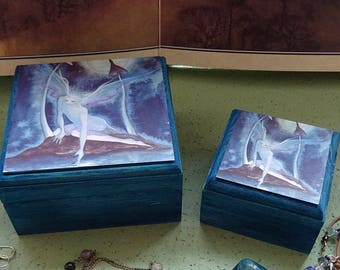 Jellery Box Set, Wooden Boxes, Fairy Boxes, Moonlight Fairy, Trinket Box, Moonlight Wish Jewellery Box ~ Set of 2 Stackable Boxes
