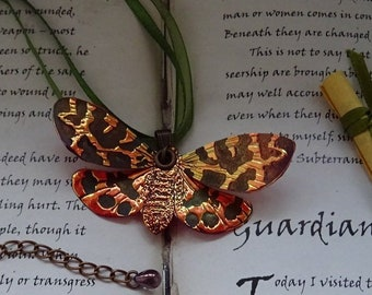 Shimmering Flame Moth Ribbon Necklace
