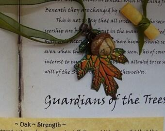 Oak Leaf and Jasper Acorn Ribbon Necklace ~ Strength