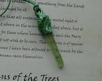♥  Elven Glade ~ Hand Sculptured Titanium Quartz Point Necklace  ♥