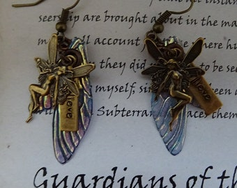 Shimmering Small Fairy Wing Earrings with Believe Fairy Charm