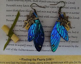 Believe Faerie Charm Shimmering Wing Earrings ~ Blue